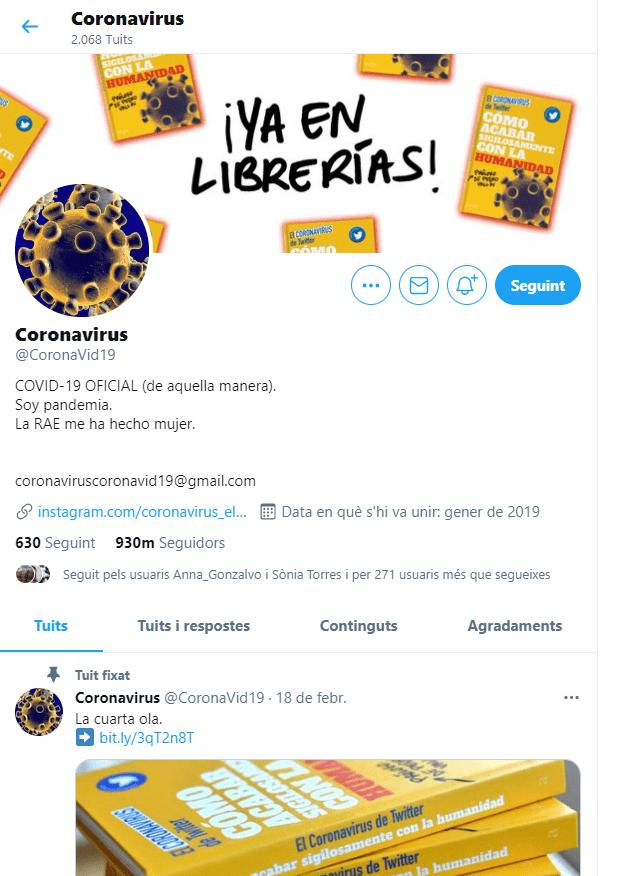 Captura del perfil de Twitter del Coronavirus.
