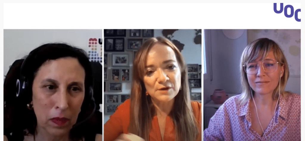 La moderadora Magda Trillo con las ponentes Carmen Seisdedos y Eva Rimbau hablando de teletrabajo_teletreball