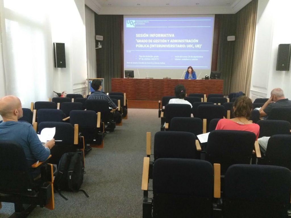 Sesión informativa del Grado de Gestión y Administración Pública (interuniversitario UOC, UB)