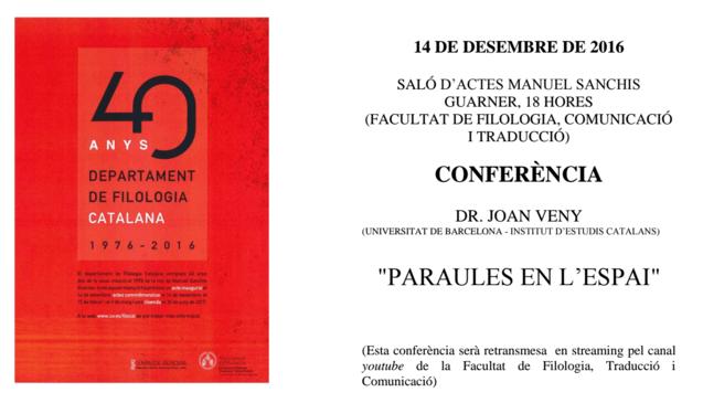 40 anys del Departament de Filologia Catalana de la Universitat de València