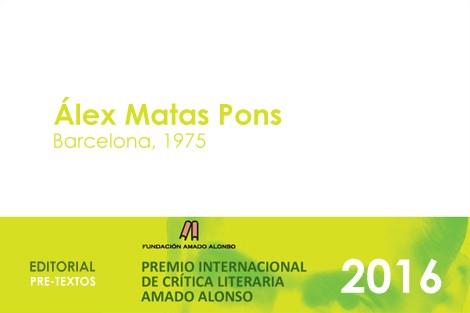 El professor Àlex Matas Pons obté el Premi Internacional de Crítica Literària Amado Alonso